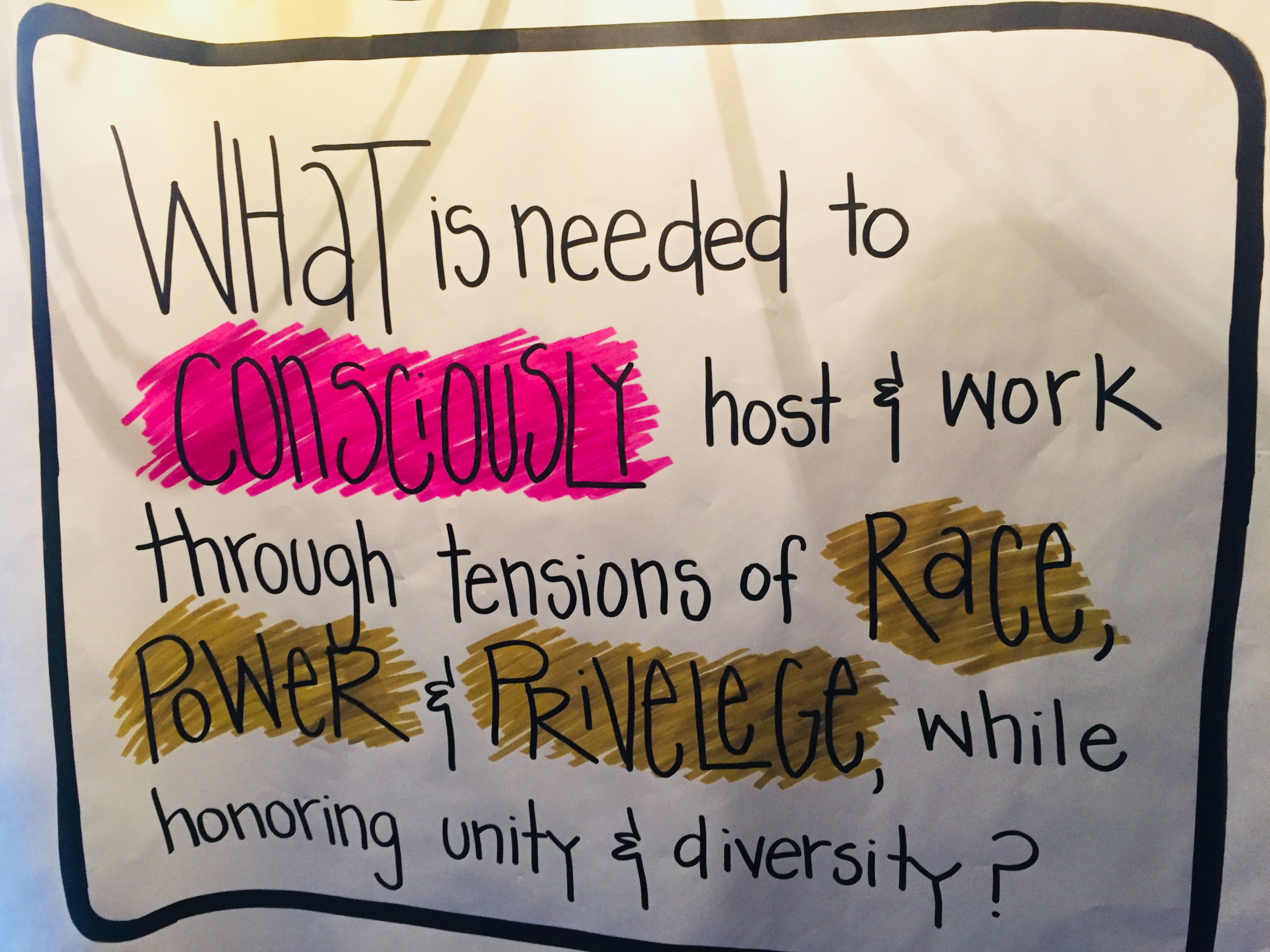 What is needed to consciously host and work through tensions of race, power and privilege while honoring unity and diversity?